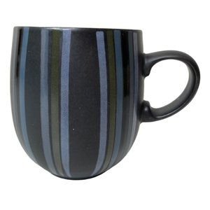 Denby Jet Stripes Large Curve Mug Black 14 oz NWOT